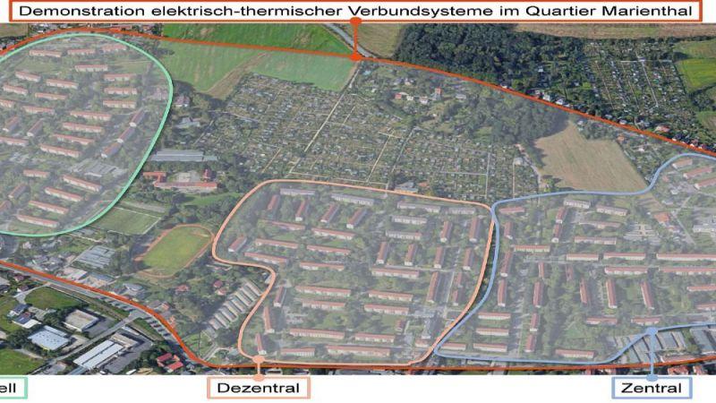 Festgelegte Quartiersgrenzen für das Projekt ZED innerhalb des Stadtteils Marienthal.