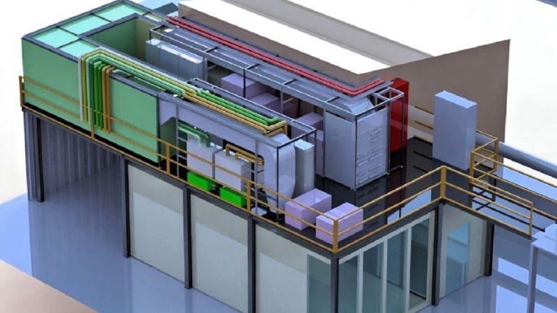 Klimakammer des Forschungsinstituts ILK Dresden im 3D-CAD-Modell mit RLT-Anlage