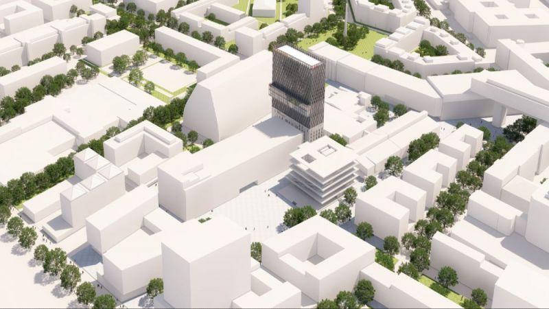 Modell des Münchener Werksviertels, ein neues Quartier zum Leben, Wohnen und Arbeiten. Im Herzen des Quartiers befindet sich das geplante neue Münchener Konzerthaus.