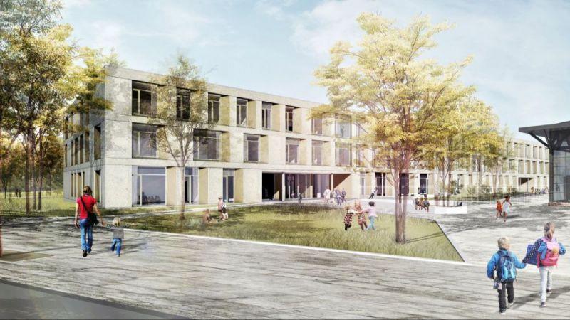 Der Neubau des Förderzentrums auf der Bult der Region Hannover in einer Visualisierung (Ansicht von der Janusz-Korczak-Allee).