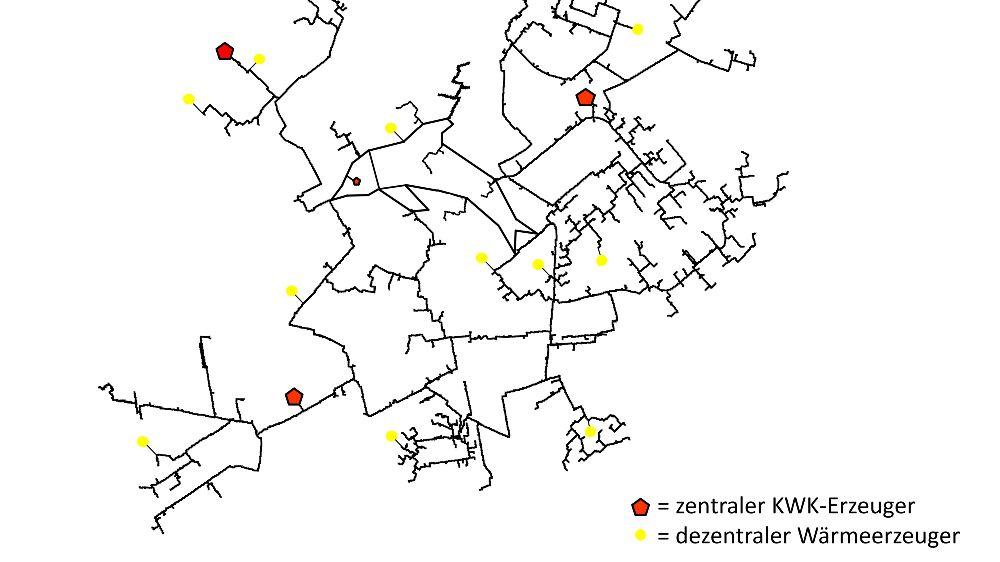 Fiktives Fernwärmenetz mit bestehender zentraler KWK-Erzeugerstruktur und unterschiedlichen Standorten für dezentrale Wärmeerzeuger.