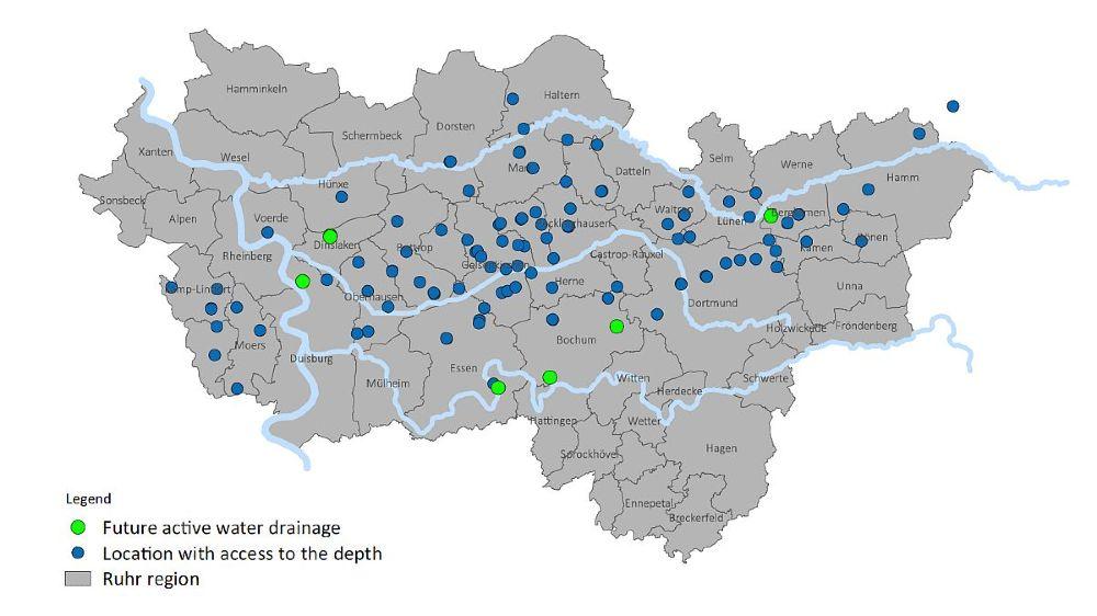 Standorte der Grubenwasserhaltung im Ruhrgebiet