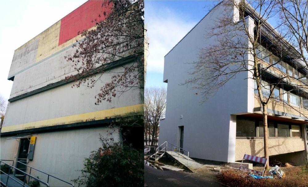 Links ist ein Burögebäude  vor der Sanierung zu sehen. Rechts das selbe Gebäude nach der Sanierung mit einer neuen Fassade.