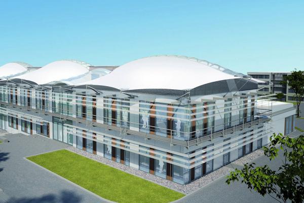 """Visualisierung des geplanten Forschungsgebäude """"Energy Efficiency Center"""" in Südost-Ansicht mit Blick auf den Haupteingangsbereich."""