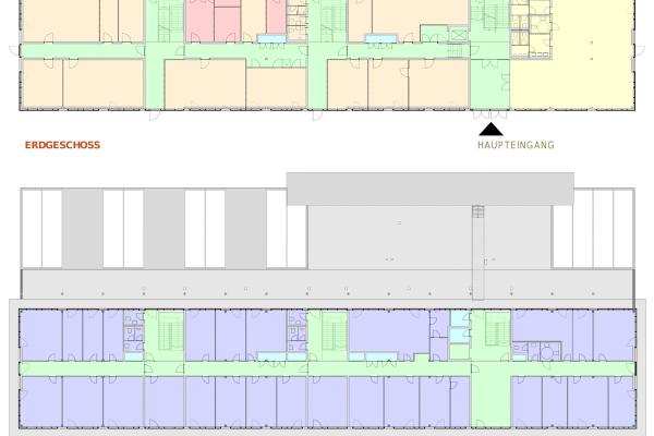Grundrisse für das Erdgeschoss und das Obergeschoss mit Flächenaufteilung nach Funktionen