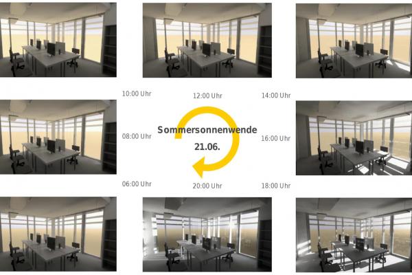 Lichtsimulation der menschlichen Wahrnehmung in einem Eckbüro zur Sommersonnenwende am 21.6.