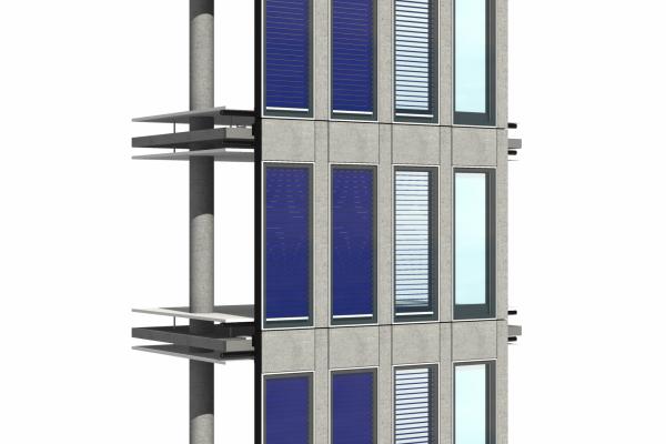 Visualisierung einer solarthermischen Jalousie. Es gibt verschiedenen Formen der Fassadenintegration, von denen eine Variante hier gezeigt wird.