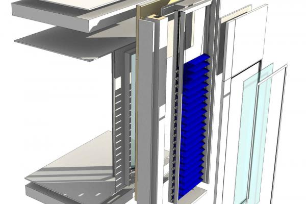 Visualisierung der Konstruktion einer solarthermischen Jalousie
