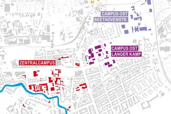 Lageplan der Campus-Standorte der TU Braunschweig im städtischen Kontext