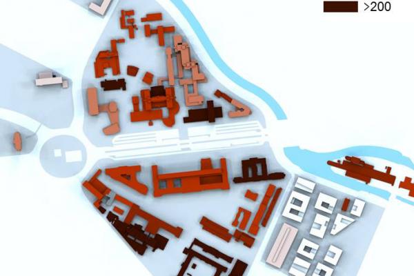 Ist-Zustand: Spezifischer Wärmeverbrauch der Gebäudegruppen auf dem Campus (kWh/m²a)