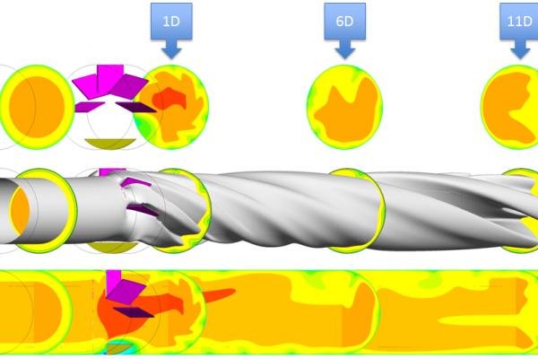 CFD-Simulation der Strömungsprofilentwicklung hinter einem Störkörper, der einen Raumkrümmer nachempfindet. Der Störkörper wird mit einem voll-ausgebildeten Strömungsprofil angeströmt.