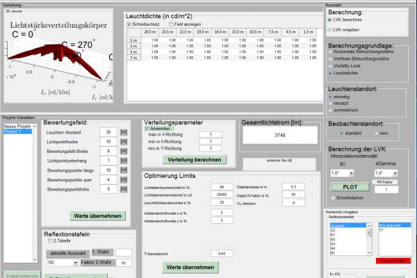 Mit LED Wege und Plätze effizient beleuchten: Zu sehen ist ein Screenshot eines am Fachgebiet Lichttechnik entwickelten Simulationsprogramms, mit dem Lichtstärkeverteilungskurven optimiert werden können