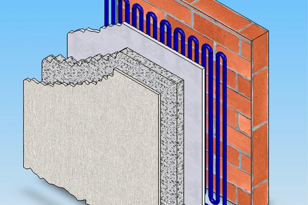 Schematischer Aufbau der außen liegenden Wandheizung, bestehend aus der Bestandswand, der Kapillarrohrmatte, dem Klebemörtel, der Wärmedämmung und dem Oberputz