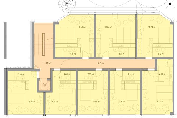 Grundriss für die Regelgeschosse 1. OG – 4. OG mit Zimmern zur Straßen- und Hofseite.