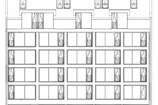 Ansicht der Fassade zur Straßenseite