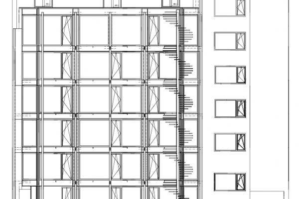 Ansicht der hofseitigen Fassade